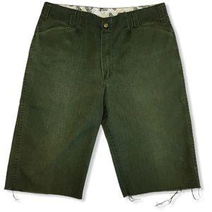 Ben Davis Green Cut Off Grunge Long Shorts Raw Hem